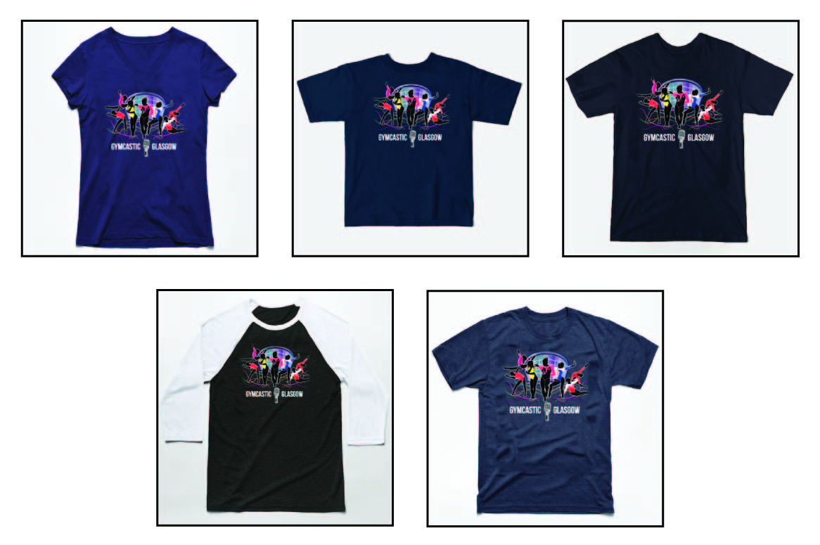 preview of gymcastic Glasgow scotland baseball and v-neck shirts