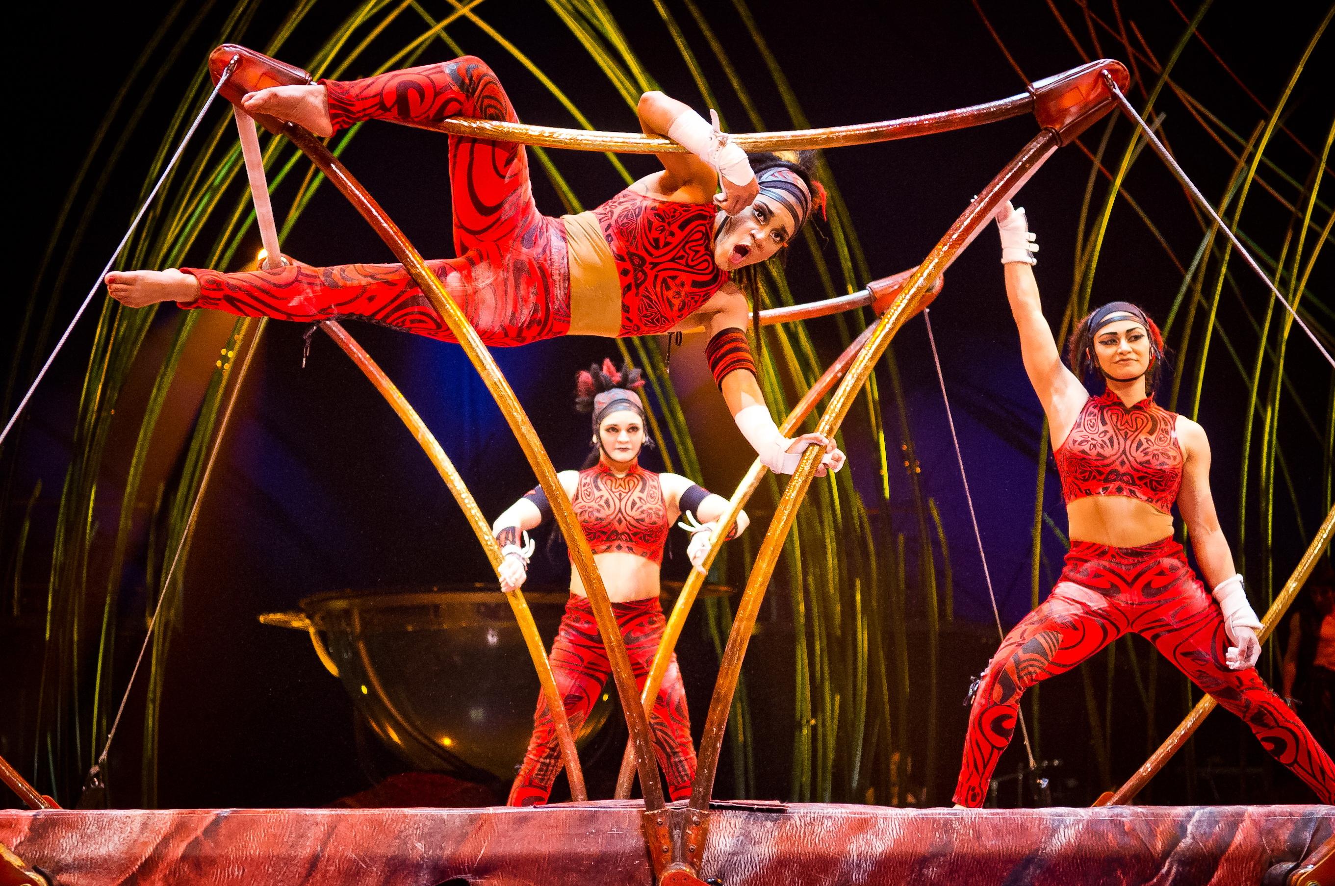 An update on Melanie Sinclair (front) the NCAA star, who's kicking ass as  an Amazon in Cirque du Soliel's Amaluna.