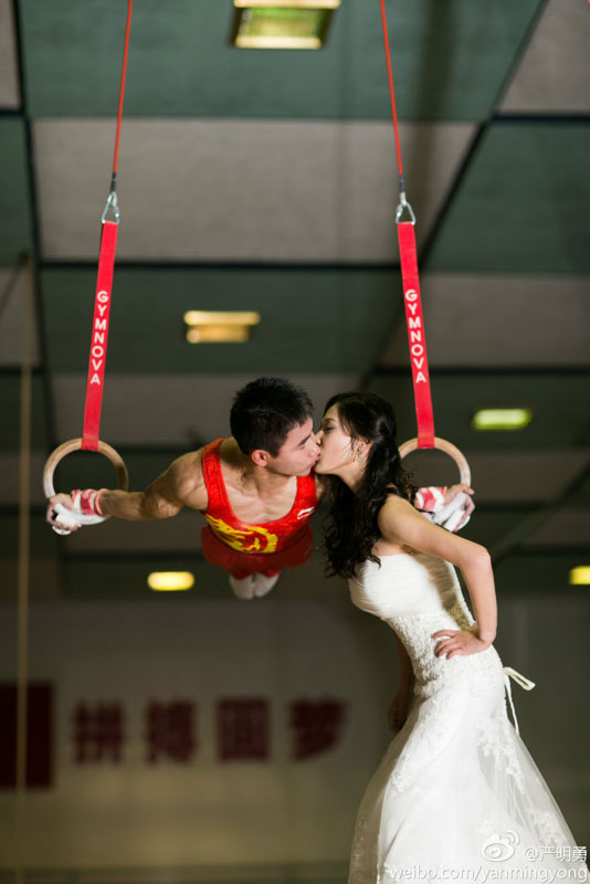 gymnastics wedding photos
