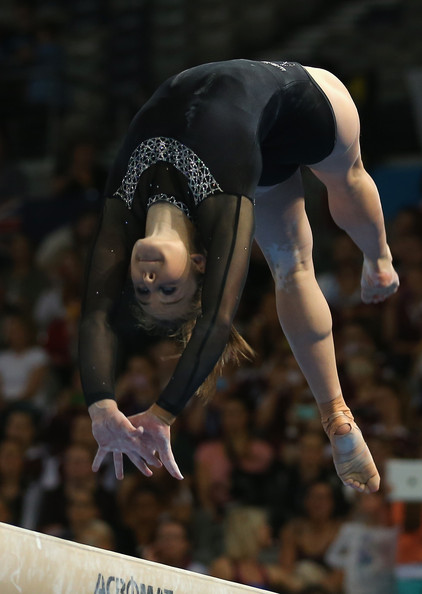 gymnast lauren mitchell of australia black leotard 2014