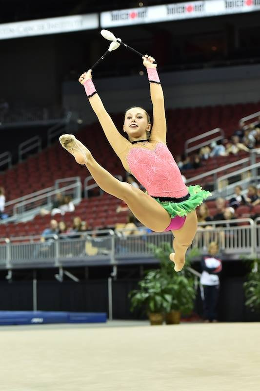 Catherine Gonzalez rhythmic watermelon leotard