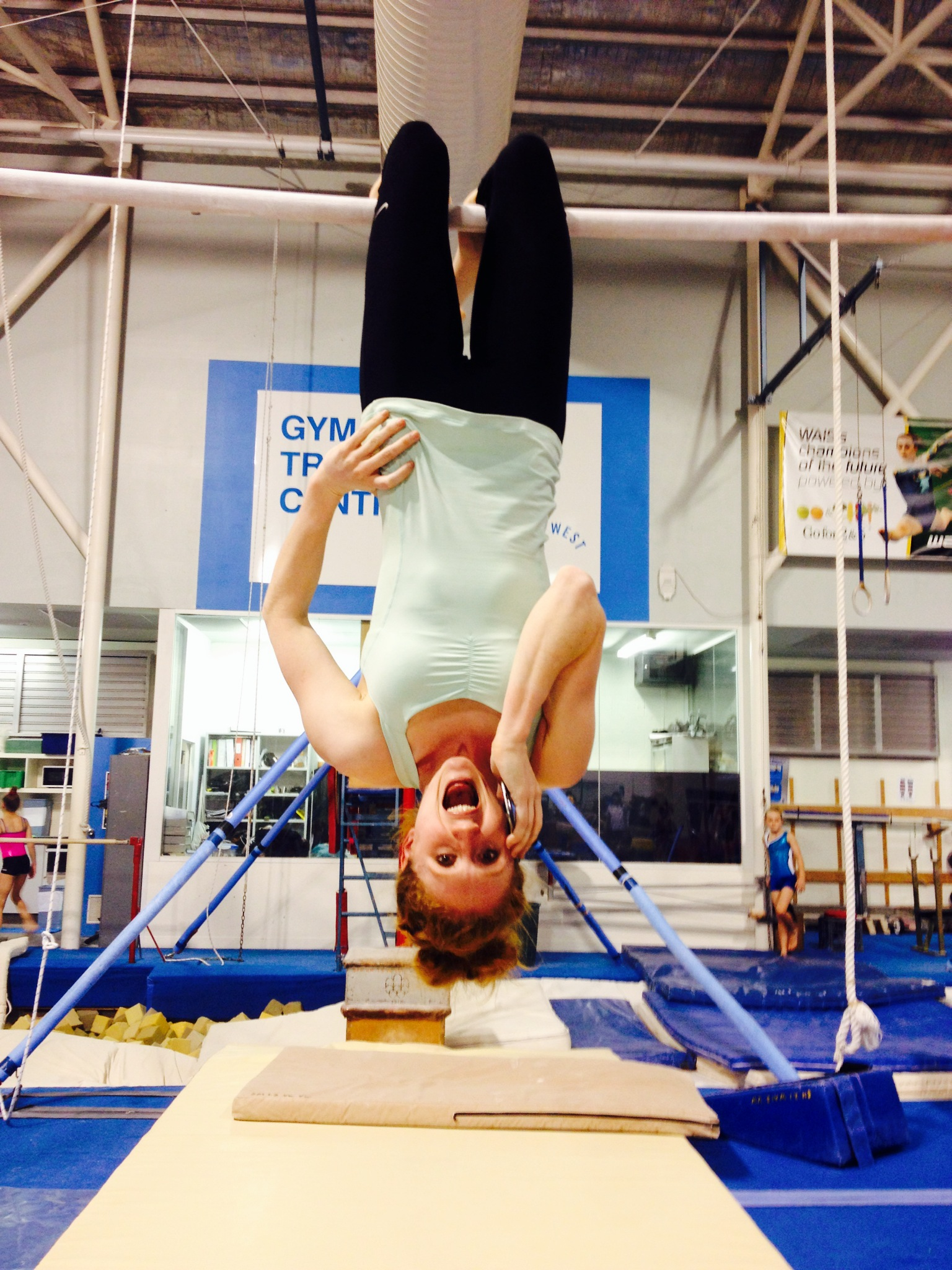 gymnast Olivia Vivian interview hanging upside down on the phone