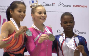 Jessica Lopez (L to R), Mykayla Skinner and Yesenia Ferrera of Cuba.
