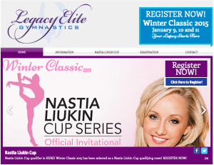 flyer with Nastia Liukin for Legacy Elite Winter Classic meet registration