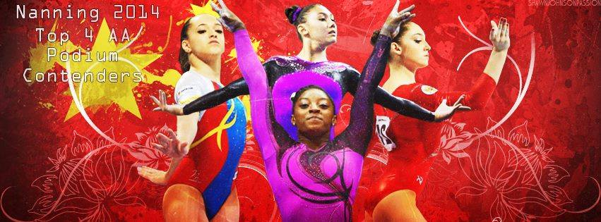 illustration of Larisa Iordache, Simone Biles, Kyla Ross and Aliya Mustafina