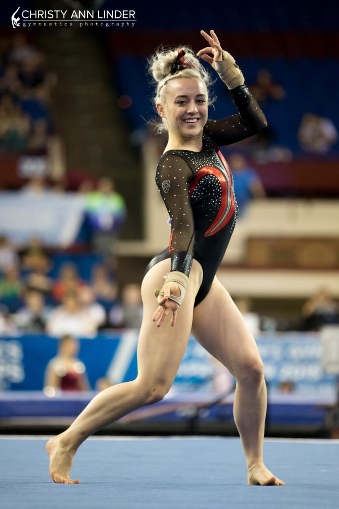 2015 NCAA championships Taylor Rice dances during floor finals