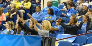 UCLA gymnastics team does Taylor Rice's making it rain choreography as they watch from the stands during floor finals at the 2015 NCAA championships Danusia Francis