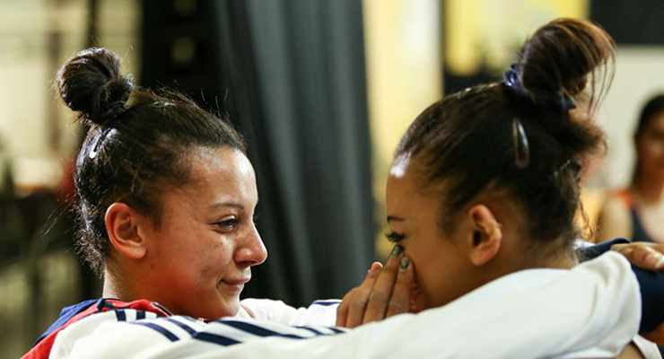 Ellie Downie and Becky Downie crying at the 2015 european artistic gymnastics championships