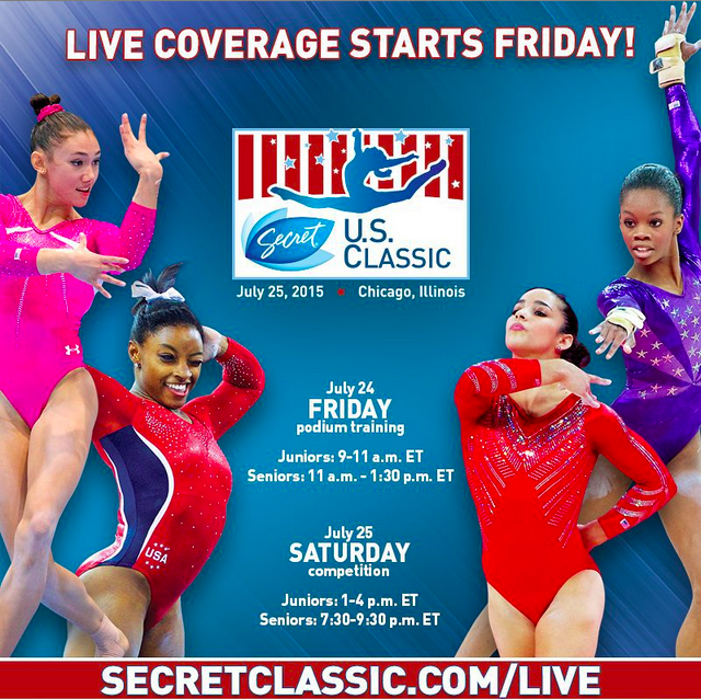 2015 us secret classic gymnastics live schedule