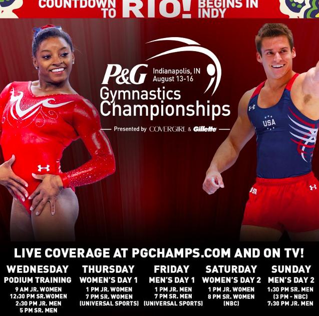 p&g gymnastics championships broadcast tv schedule