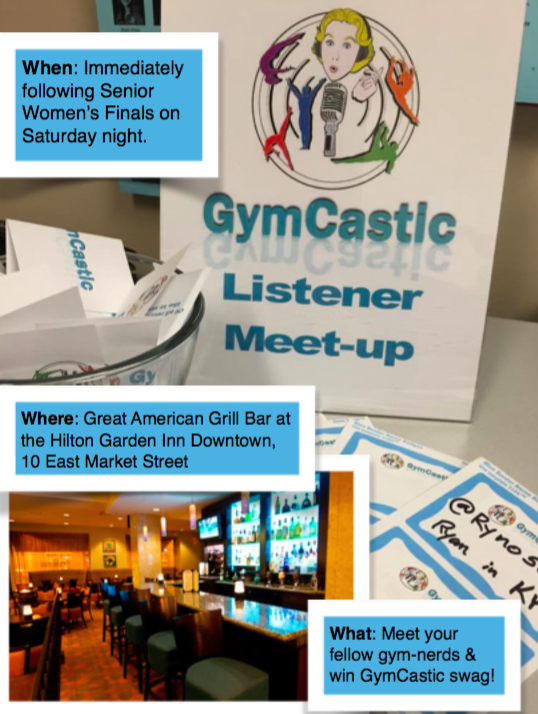 gymcastic listener meet-up in indianapolis at the P&G gymnastics championships