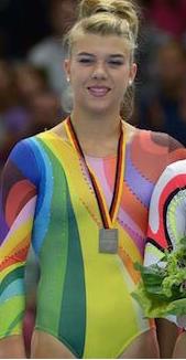 Pauline Tratz rainbow leotard