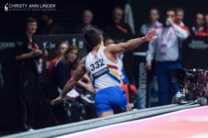 Marian Drăgulescu flies down back down the vault runway after winning silver on vault at the 2015 world championships