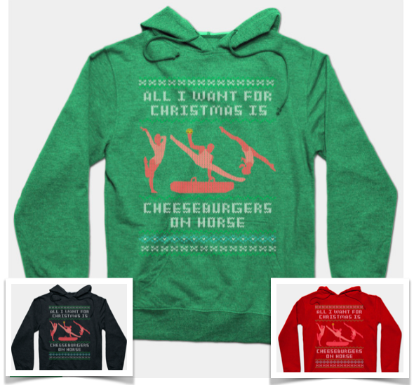 gymcastic gym nerd gift guide cheeseburgers on horse sweatshirt