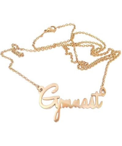 gold gymnastics script necklace