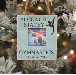 gymnastics gymcastic gift guide photo ornament for coach