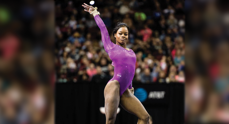 gabby douglas purple leotard floor pose american cup 2016