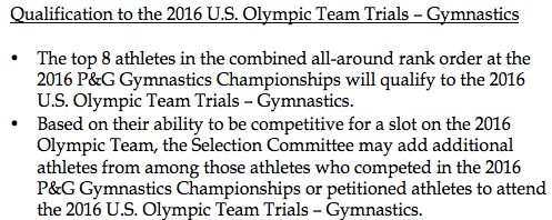 olympic qualifier rules wag gymnastics usage