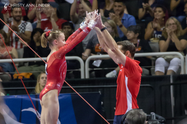 Madison Kocia high-fives gymternet fave, Laurent Landi