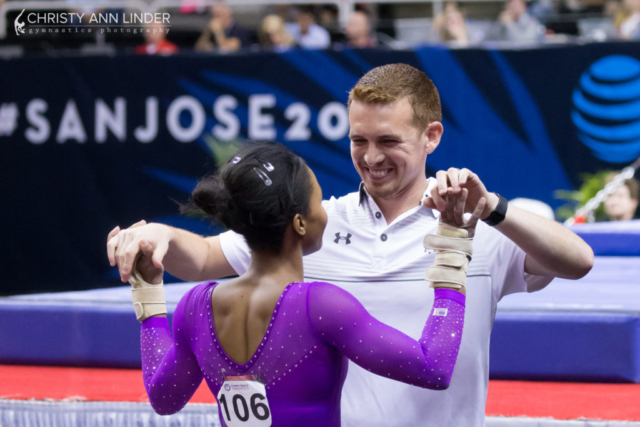 Gabby Douglas and Christian Gallardo celebrate