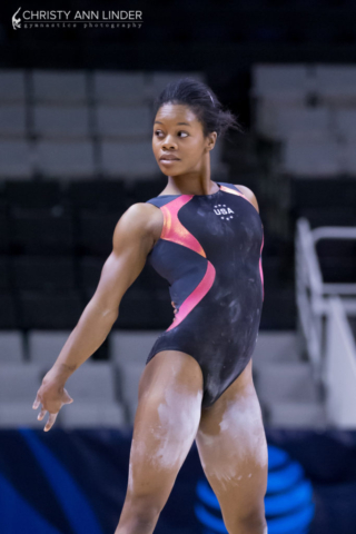 Gabby Douglas showing sass on floor