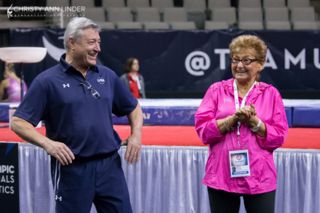 Martha Karolyi and Mihai Brestyan share a laugh
