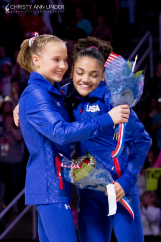 Madison Kocian and Laurie Hernandez