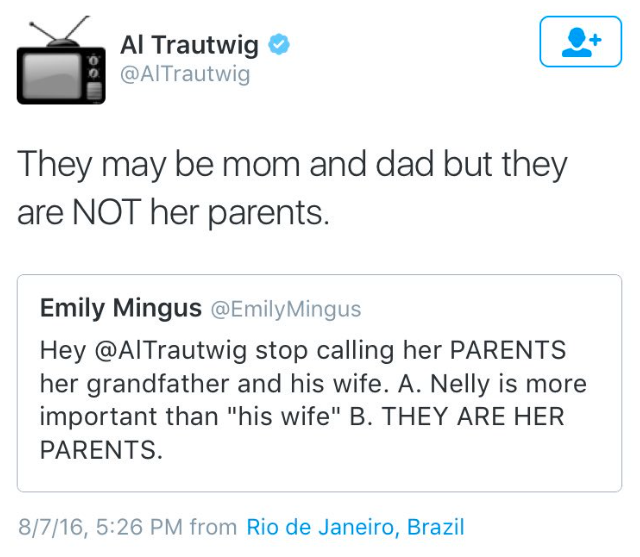 al trautwig NBC Olympic sportscaster tweets Simone Biles mother and father not her parents