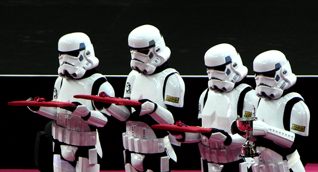 storm trooper gymnastics medal podium