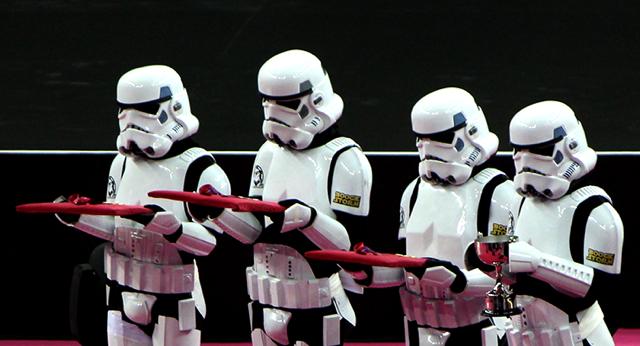storm trooper gymnastics medal podium