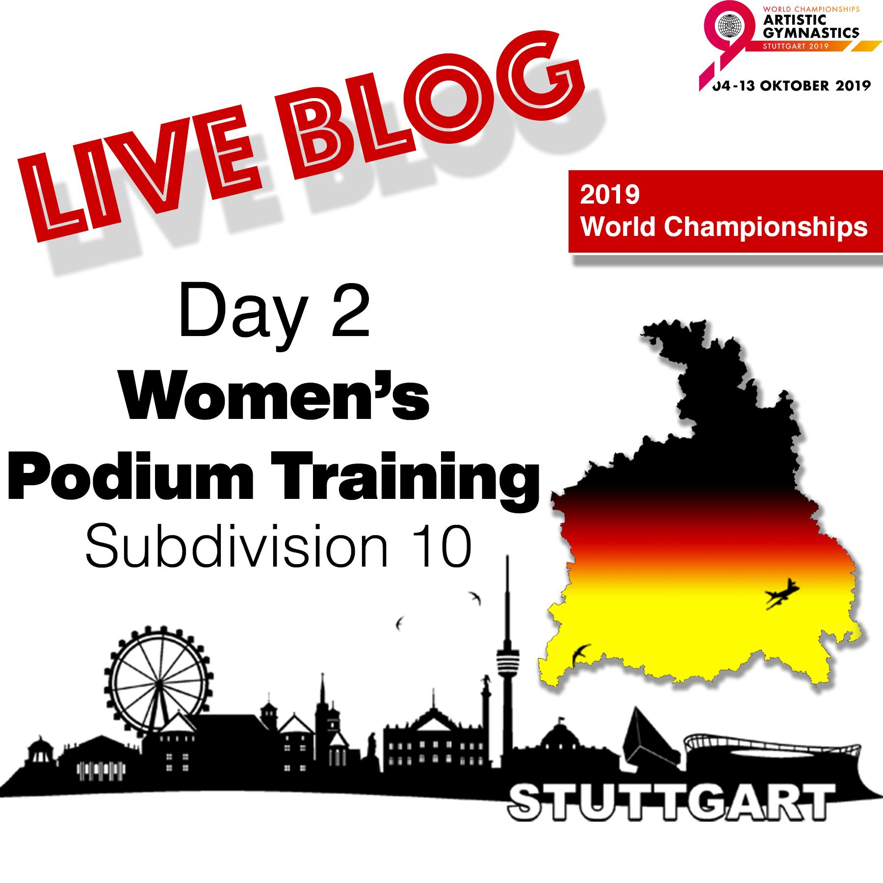 Live Blog: 2019 World Championships – WAG Podium Training – Sub Division 10, Oct. 1st