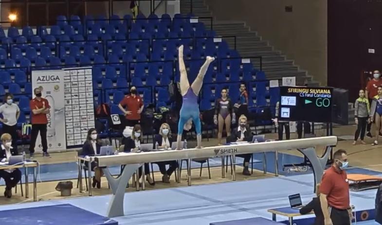 Silviana Sfiringu handstand save almost fall beam Romania ROM championships