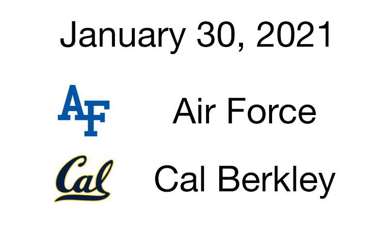 Live Blog: Air Force vs. Cal Berkeley – January 30, 2021